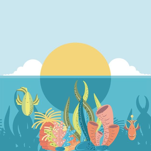 Ilustração do desenho animado do mundo subaquático pôr do sol oceano peixes coral e algas Vetor Premium