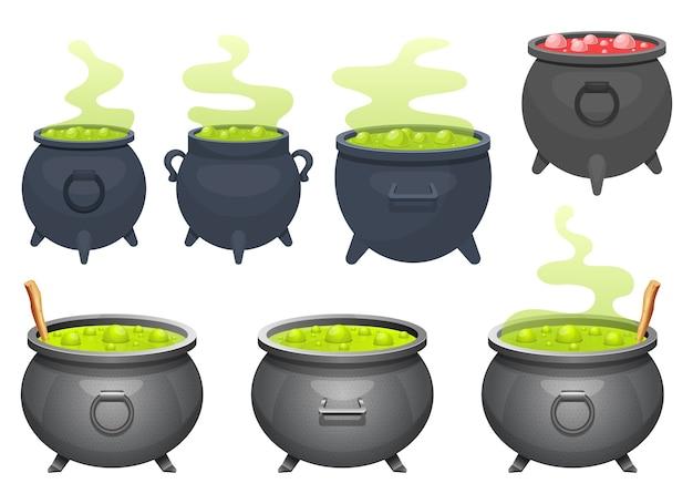 Ilustração do desenho do caldeirão de bruxa isolada no fundo branco Vetor Premium