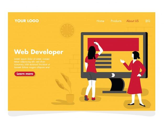 Ilustração do desenvolvedor da web para a página de destino Vetor Premium