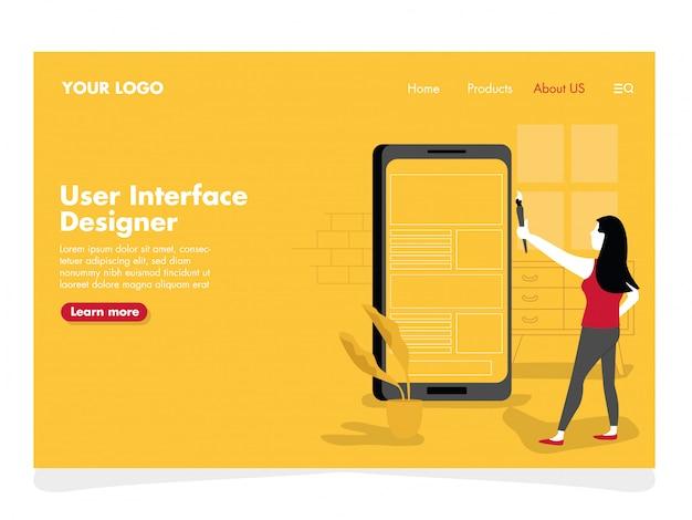 Ilustração do designer de interface do usuário para a página de destino Vetor Premium