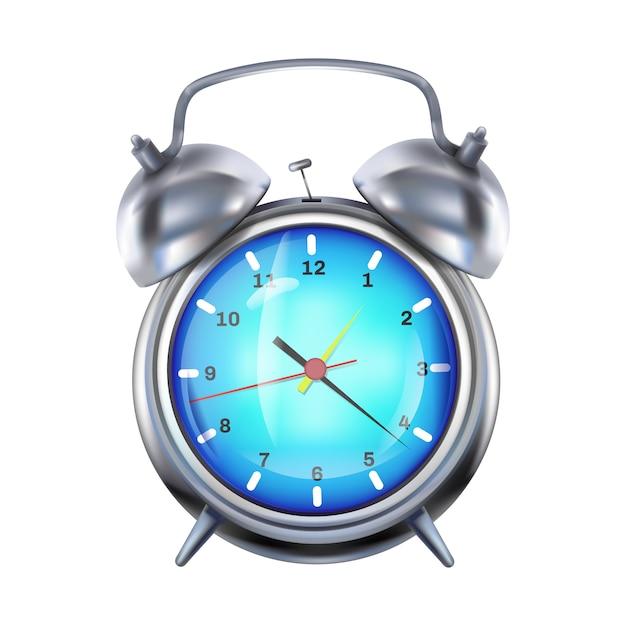Ilustração do despertador do pulso de disparo de prata retro com sinos do metal. Vetor grátis