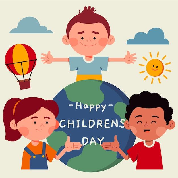 Ilustração do dia das crianças do mundo plano Vetor grátis