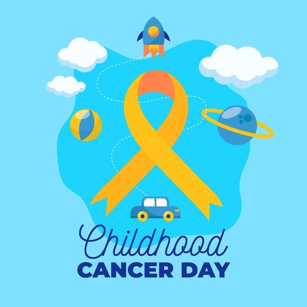 Ilustração do dia do câncer infantil com fita e foguete Vetor grátis