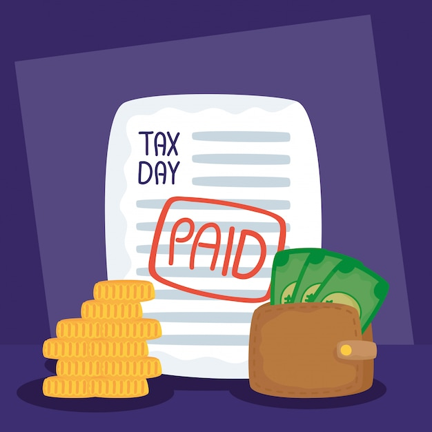 Ilustração do dia do imposto com recibo pago e dinheiro da carteira Vetor Premium