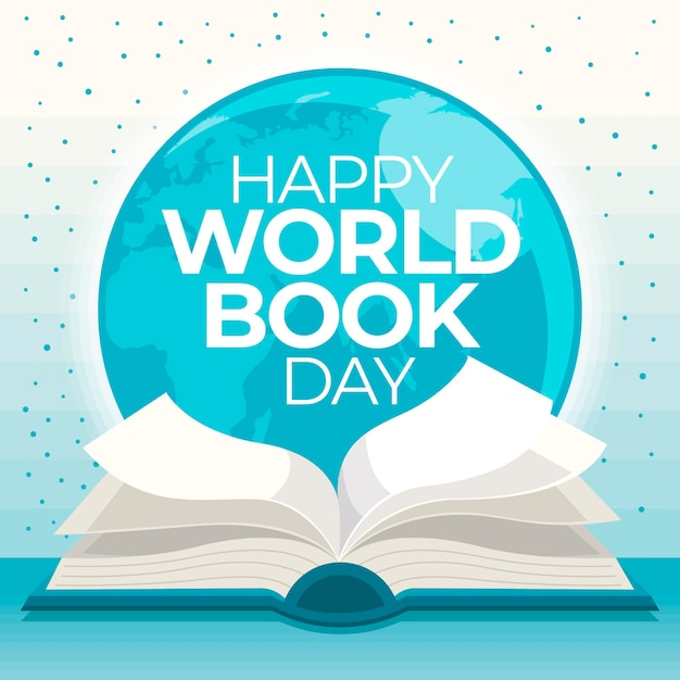Ilustração do dia do livro no mundo plano Vetor Premium