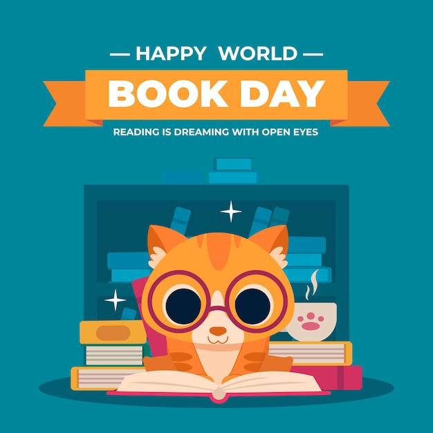 Ilustração do dia do livro no mundo plano Vetor grátis