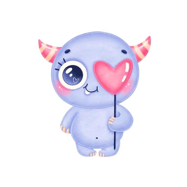 Ilustração do dia dos namorados de um monstro roxo bonito dos desenhos animados. monstro bonito apaixonado isolado no fundo branco. Vetor Premium