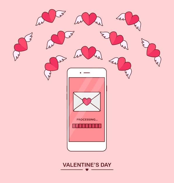 Ilustração do dia dos namorados. envie ou receba amor sms, carta, e-mail com o celular. Vetor Premium