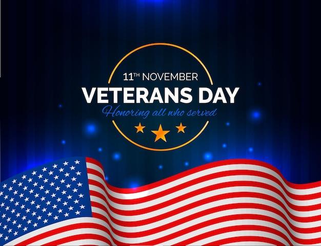 Ilustração do dia dos veteranos em estilo realista com a bandeira americana Vetor Premium