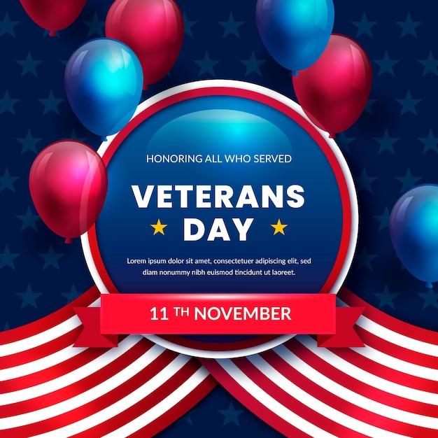 Ilustração do dia dos veteranos em estilo realista Vetor Premium