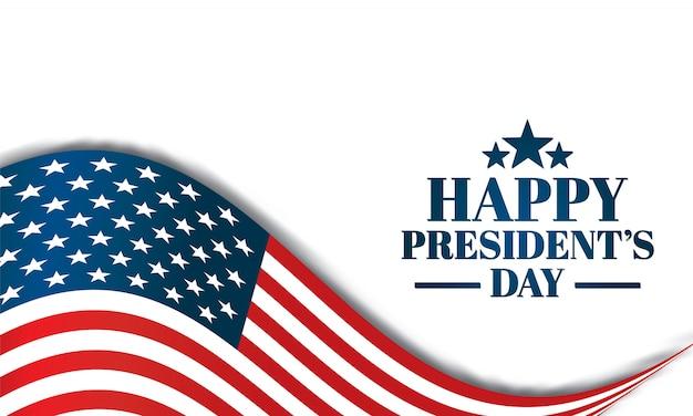 Ilustração do dia feliz dos presidentes com bandeira americana. Vetor Premium