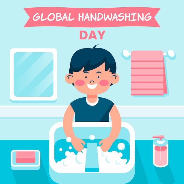 Ilustração do dia global de lavagem das mãos Vetor grátis