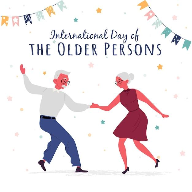 Ilustração do dia internacional do idoso Vetor grátis