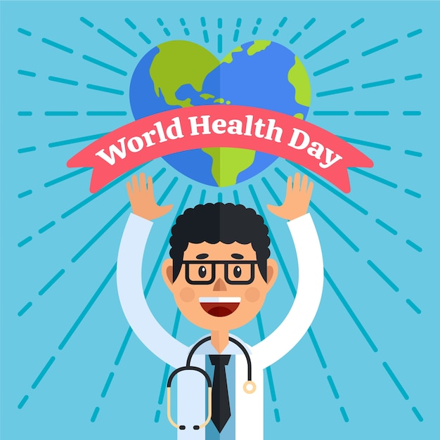 Ilustração do dia mundial da saúde design plano Vetor grátis