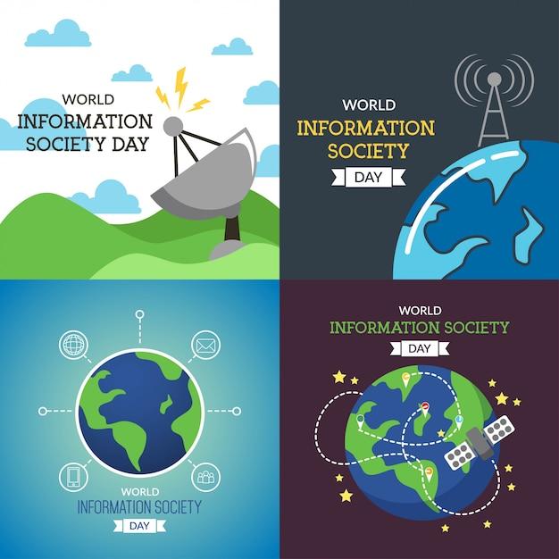 Ilustração do dia mundial da sociedade da informação Vetor Premium