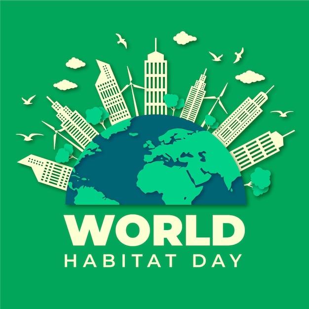 Ilustração do dia mundial do habitat em estilo jornal Vetor grátis
