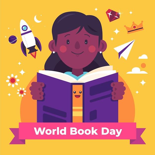 Ilustração do dia mundial do livro com mulher lendo livro Vetor grátis