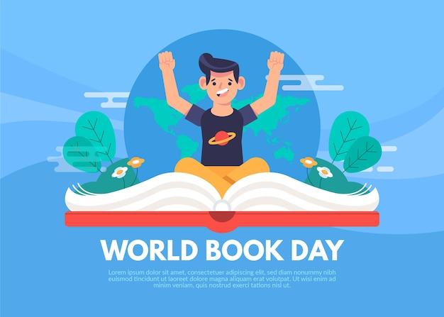 Ilustração do dia mundial do livro com o homem e o livro aberto Vetor grátis