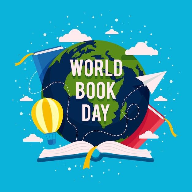 Ilustração do dia mundial do livro com planeta e livros Vetor grátis