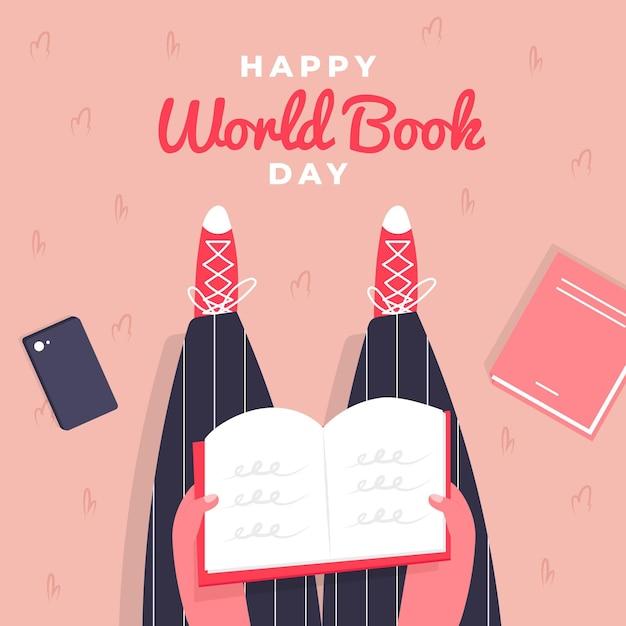 Ilustração do dia mundial do livro com vista superior da pessoa lendo Vetor grátis