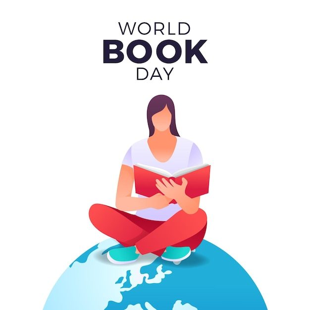 Ilustração do dia mundial do livro gradiente com livro de leitura da mulher no planeta Vetor grátis