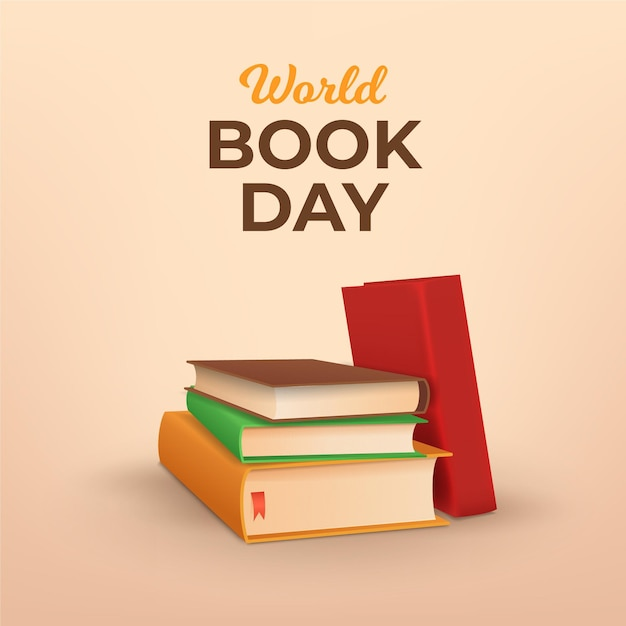 Ilustração do dia mundial do livro realista Vetor grátis