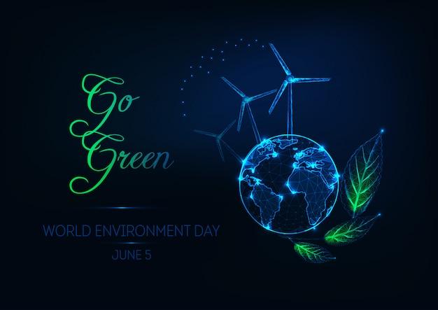 Ilustração do dia mundial do meio ambiente com o planeta terra, turbinas eólicas, folhas verdes e texto ir verde Vetor Premium