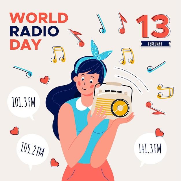 Ilustração do dia mundial do rádio Vetor grátis