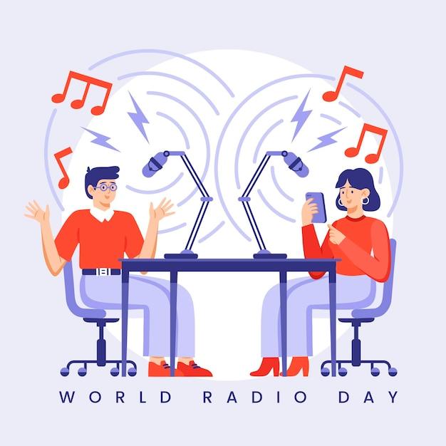 Ilustração do dia mundial do rádio Vetor Premium