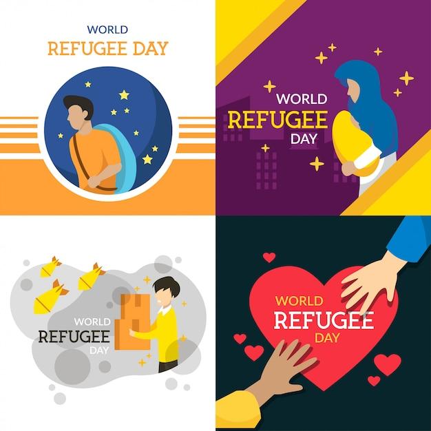 Ilustração do dia mundial dos refugiados Vetor Premium