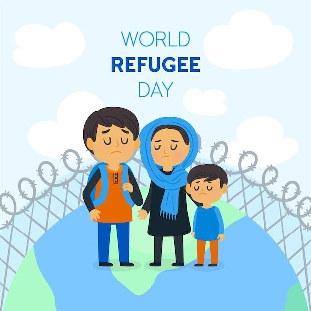Ilustração do dia mundial dos refugiados Vetor grátis