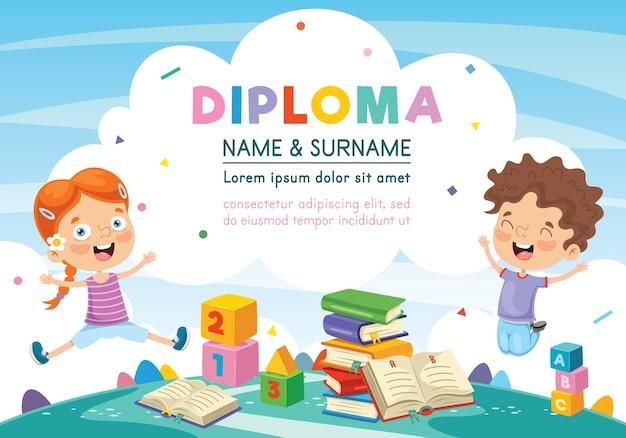 Ilustração do diploma de crianças pré-escolares Vetor Premium