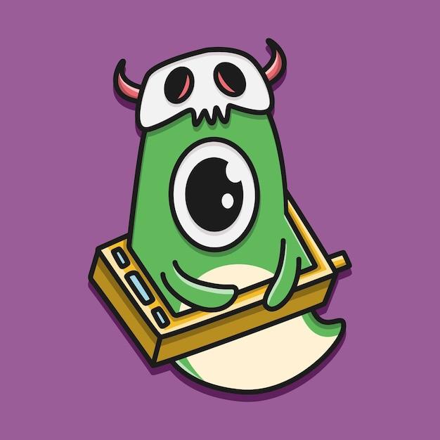 Ilustração do doodle do monstro dos desenhos animados kawaii Vetor Premium