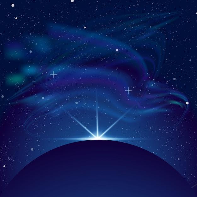 Ilustração do eclipse, planeta no espaço em raios azuis de fundo claro. espaço com muitas estrelas, belas constelações e aurora. Vetor Premium