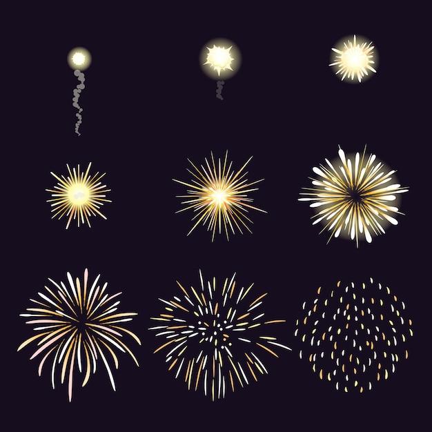 Ilustração do efeito de fogos de artifício no estilo cômico dos desenhos animados. Vetor grátis