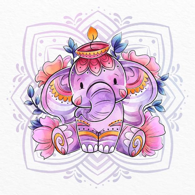 Ilustração do elefante em aquarela de diwali Vetor grátis