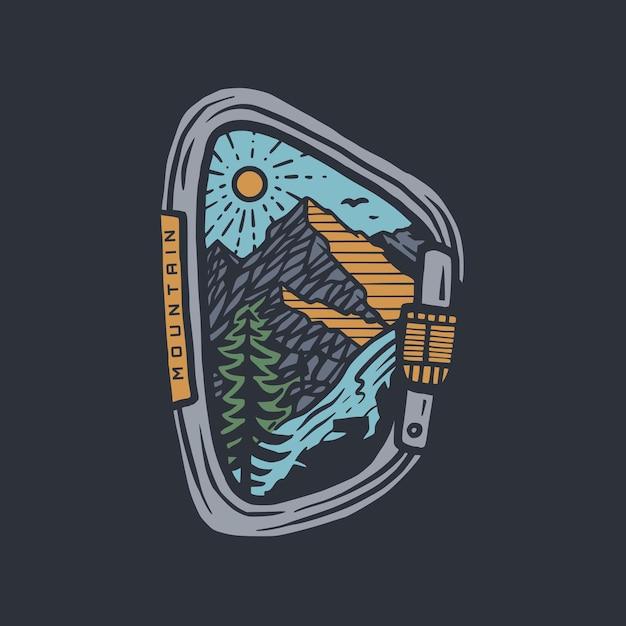 Ilustração do emblema do mosquetão e design da camiseta Vetor Premium