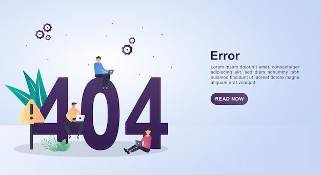Ilustração do erro com o código 404 com o código 404, que está sendo reparado usando um laptop. Vetor Premium