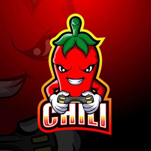 Ilustração do esporte do mascote do jogador chili Vetor Premium