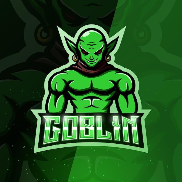 Ilustração do esporte do mascote goblin verde Vetor Premium