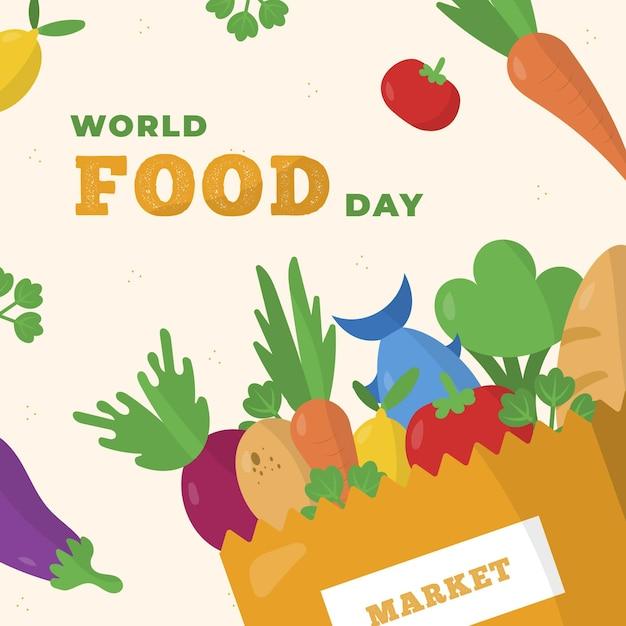Ilustração do evento do dia mundial da comida com vegetais e peixes Vetor grátis