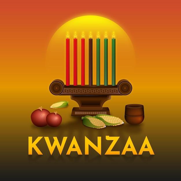 Ilustração do evento kwanzaa com candelabros Vetor Premium