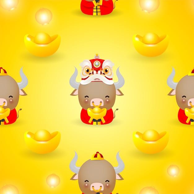 Ilustração do feliz ano novo chinês do zodíaco do boi vaca bonita em traje vermelho e dança do leão com padrão sem emenda de dinheiro dourado Vetor Premium