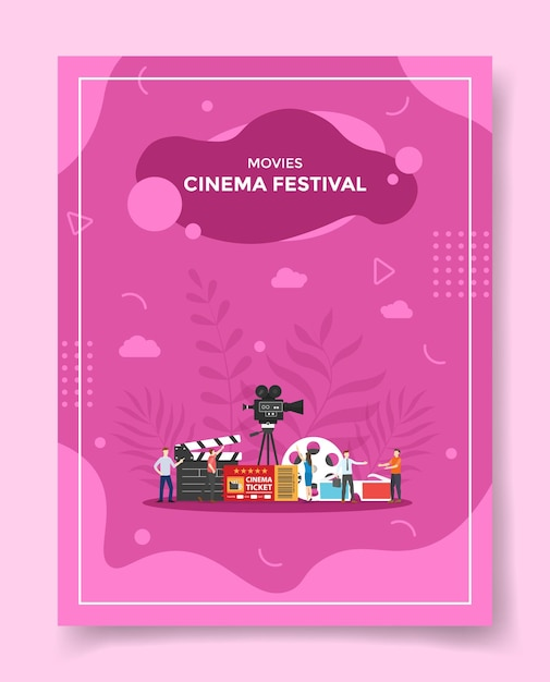 Ilustração do festival de cinema de filmes para modelo de pôster Vetor Premium