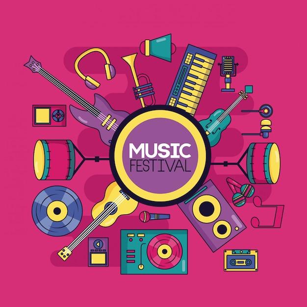 Ilustração do festival de instrumento musical Vetor grátis