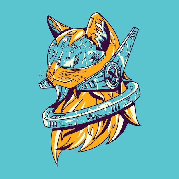 Ilustração do futuro gato e design de t-shirt Vetor Premium