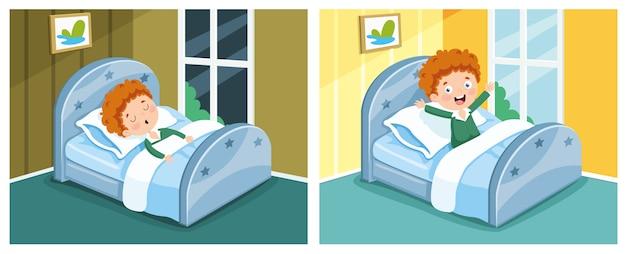 Ilustração do garoto dormindo e acordando Vetor Premium
