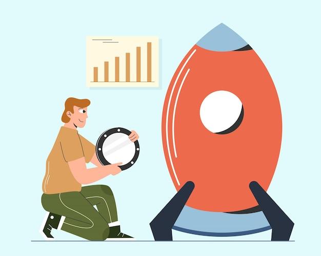 Ilustração do homem criar projeto empresarial Vetor Premium