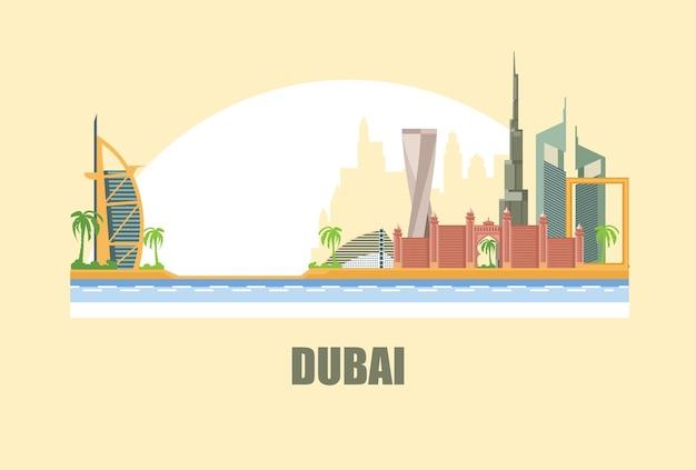 Ilustração do horizonte da cidade de dubai na ilustração do deserto Vetor Premium