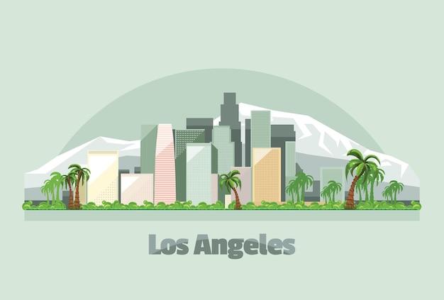 Ilustração do horizonte da cidade de los angeles nos eua Vetor Premium